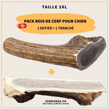 Pack bois de cerf pour chien taille 2XL : 1 entier + 1 tranché