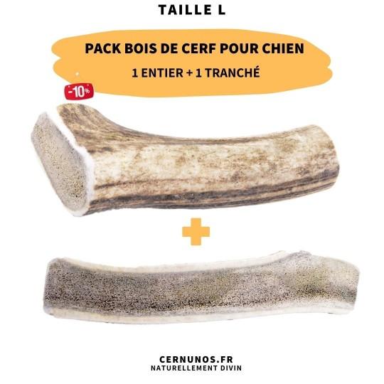 Pack bois de cerf pour chien : 1 entier + 1 tranché